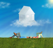 拼贴画夫妇梦想草房子位于 库存图片