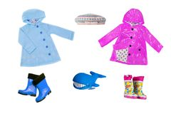 拼贴画套儿童衣裳 春天和秋天的汇集 库存图片