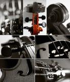拼贴画小提琴 免版税库存图片