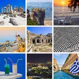 拼贴画希腊图象旅行 库存照片