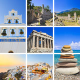 拼贴画希腊图象旅行 库存图片