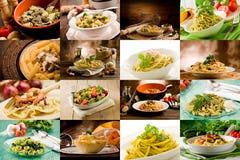拼贴画意大利人意大利面食 库存图片