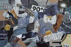 拼贴画有工业概念的心情委员会与冰蓝色,灰色,黑和灰色和与金属和铁元素的蓝色 库存图片
