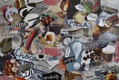 拼贴画有自然有机食品概念的心情委员会与餐馆、酒、薄饼、咖啡、巧克力和面团元素 库存照片