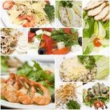 拼贴画烹调欧洲美食的沙拉 免版税库存照片