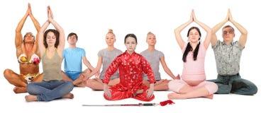 拼贴画组人瑜伽 免版税图库摄影