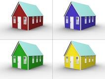 拼贴画颜色房子 免版税库存图片