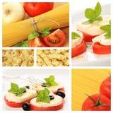 拼贴画食物意大利语 库存照片