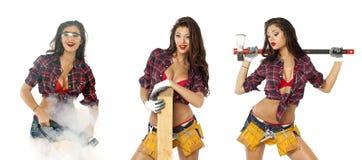 拼贴画。有建筑工具的性感的女孩 库存照片