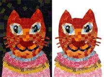 猫画象拼贴画马赛克例证 免版税库存照片