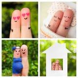 拼贴画一对愉快的夫妇的手指艺术 库存照片