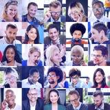 拼贴画不同的面孔小组人概念 库存照片