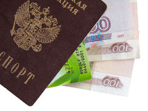 拼贴画俄国护照,金钱,信用卡 免版税库存照片