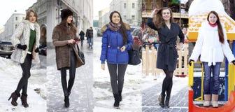 拼贴画冬天时尚 新美丽的妇女 库存照片