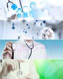 拼贴画各种各样现代医疗 免版税库存照片