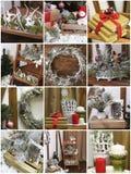 拼贴画圣诞卡 家庭装饰的新的图片在褐色的 免版税库存图片