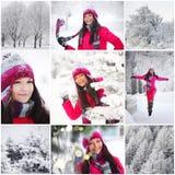 拼贴画妇女在冬天公园 免版税图库摄影