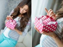 拼贴画-有桃红色赃物的一个妊妇 库存照片