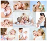 拼贴画母亲节概念。有婴孩的爱恋的妈妈。 免版税库存图片
