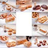 拼贴画用甜食物、咖啡和面包 免版税库存照片