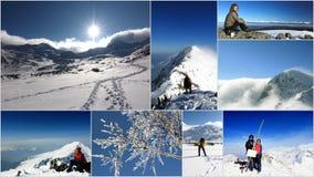 拼贴画山罗马尼亚冬天 库存照片