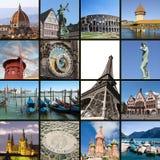 拼贴画欧洲地标 免版税库存图片