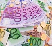 拼贴画货币欧元 免版税库存照片