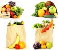 拼贴画,设置了食品购物袋子 库存图片