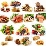拼贴画,设置了食物金字塔,健康吃 免版税库存照片