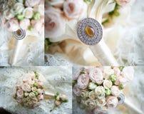 拼贴画:与别针的新娘的花束 免版税库存图片