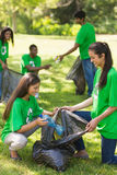 拾起废弃物的志愿者队在公园 免版税库存图片