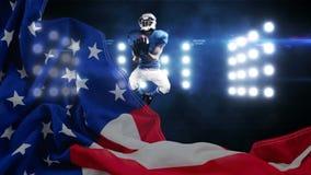 拿到球的美国橄榄球球员的数字动画在体育场内 股票视频