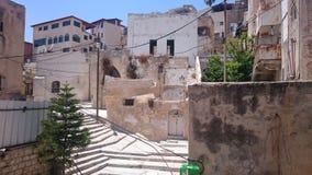 拿撒勒耶路撒冷旧城在有楼梯的以色列 免版税库存图片
