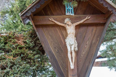 拿撒勒耶酥在十字架上钉死,犹太人的国王 免版税库存照片