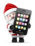 拿着一个大巧妙的电话的圣诞老人 免版税库存图片