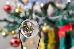 拿着一个小的玻璃球的镊子反射圣诞树 免版税库存图片