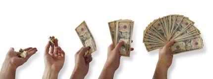 拿着一个小组10美金的人` s手的序列,与在每步的更多票据 免版税图库摄影