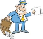 拿着一个开放公文包和纸的动画片商人 库存图片