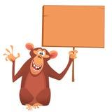拿着一个木标志的动画片可爱的猴子 也corel凹道例证向量 免版税库存照片