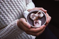 拿着一个杯子巧克力热饮的妇女的手 免版税图库摄影