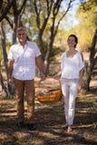 拿着一个柳条筐的微笑的夫妇在徒步旅行队期间假期 库存照片