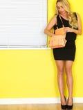 拿着一个桃红色提包的年轻女商人 图库摄影