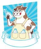 拿着一个瓶牛奶的母牛 库存照片