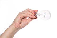 拿着一个电灯泡,白色背景的女性手 免版税库存照片