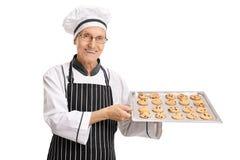 拿着一个盘子用新近地被烘烤的曲奇饼的年长面包师 免版税库存图片