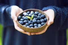 拿着一个碗用新鲜的成熟蓝莓的少女的手 库存照片