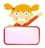 拿着一个空白的标志板的女孩 库存图片