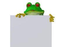 拿着一个空白的标志的一只逗人喜爱的动画片青蛙 库存照片