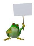 拿着一个空白的标志的一只逗人喜爱的动画片青蛙 免版税库存图片