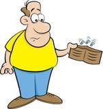 拿着一个空的钱包的动画片人 图库摄影